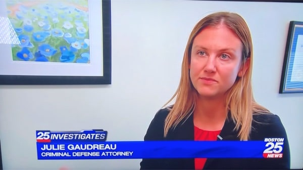 Photo of Attorney Gaudreau was interviewed by Boston Fox 25 News